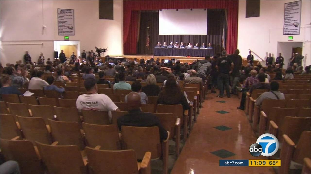Watts residents and members of the Los Angeles Police Commission held a meeting at a middle school to discuss neighborhood safety on Tuesday, Sept. 19, 2017.