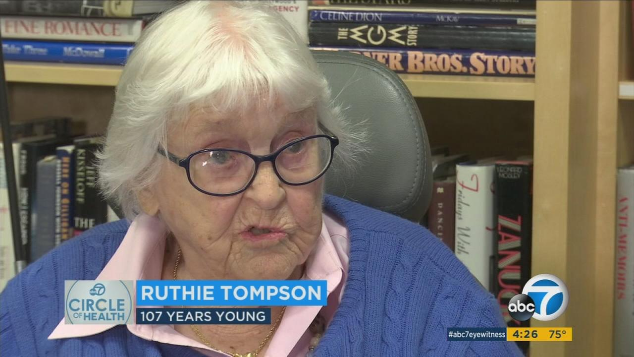 Ruthie Tompson, 107, is shown during an interview about how she lives a long and fulfilling life.