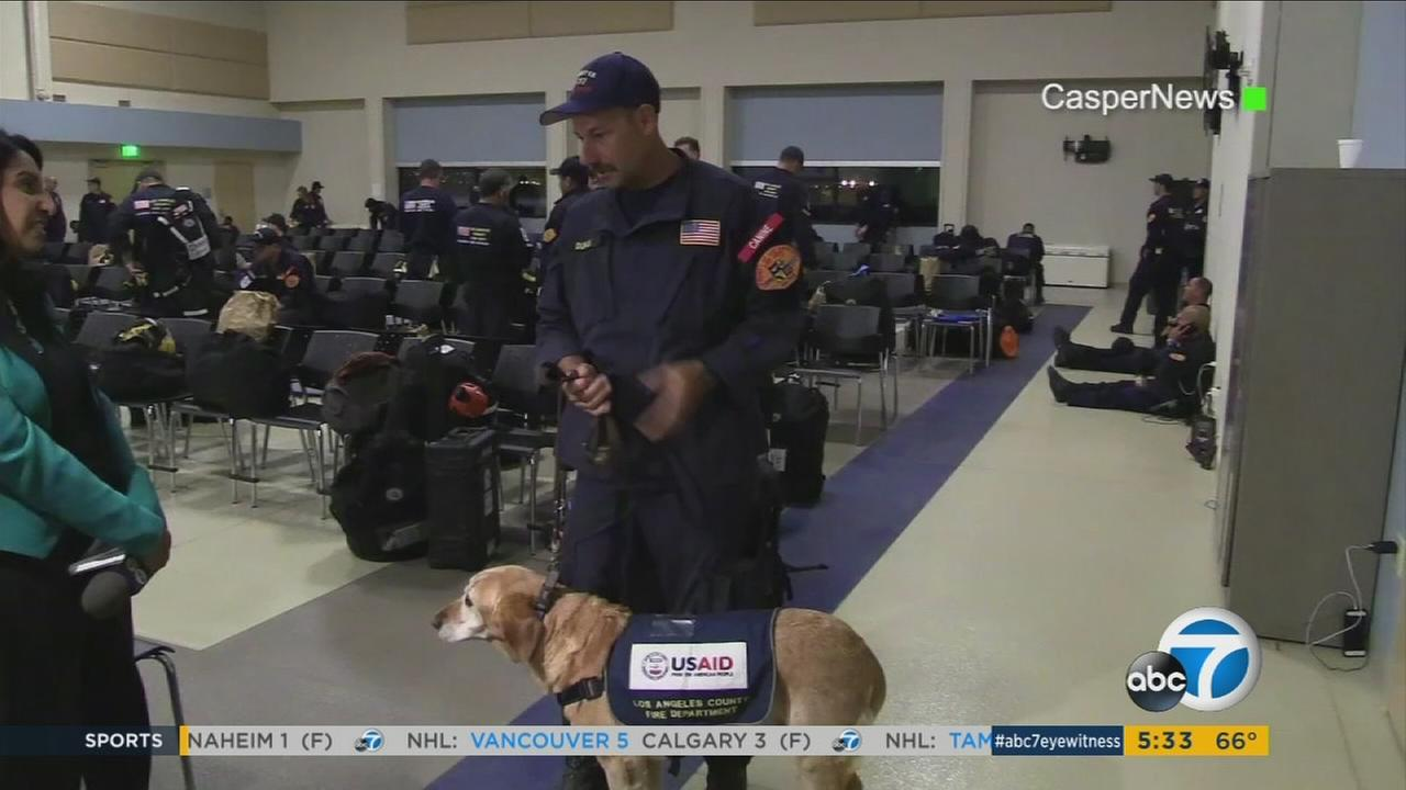 Los Angeles County firefighters deploy to Mexico after the 7.1 earthquake on Tuesday, Sept. 21, 2017.