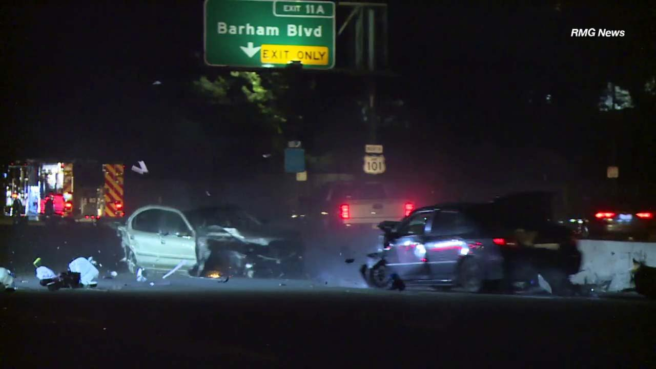 A car slammed into a stalled vehicle on the 101 Freeway in Hollywood on Thursday, Sept. 21, 2017.