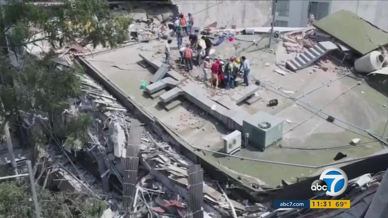 Drone footage captures the scene of a collapsed building in Mexico City on Thursday, Sept. 21, 2017.