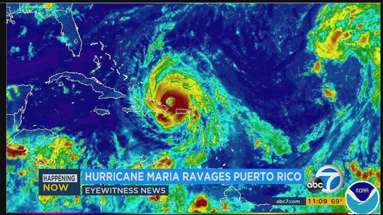 A satellite image shows Hurricane Maria.