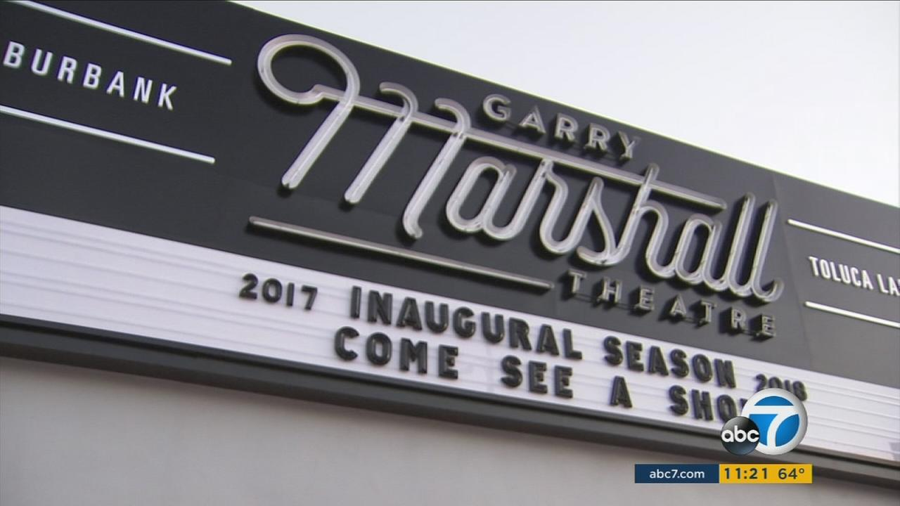 The sign for the Garry Marshall Theatre was lit up in Burbank on Thursday, Sept. 21, 2017.