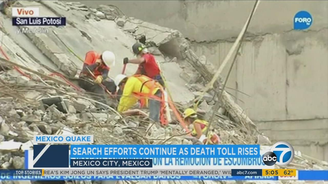 Crews continue to dig through the rubble in Mexico on day 4 of earthquake relief efforts Friday, Sept. 22, 2017.