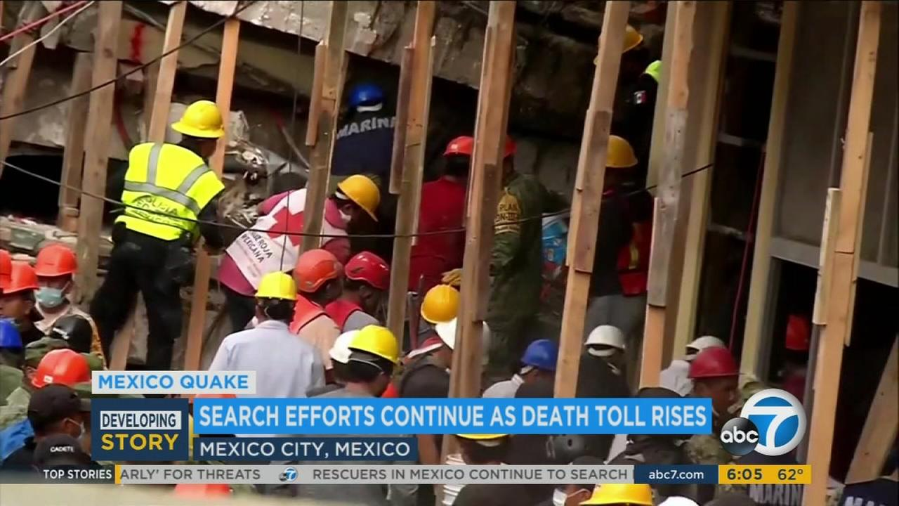 Rescue crews in Mexico search through the rubble for earthquake survivors on Friday, Sept. 22, 2017.