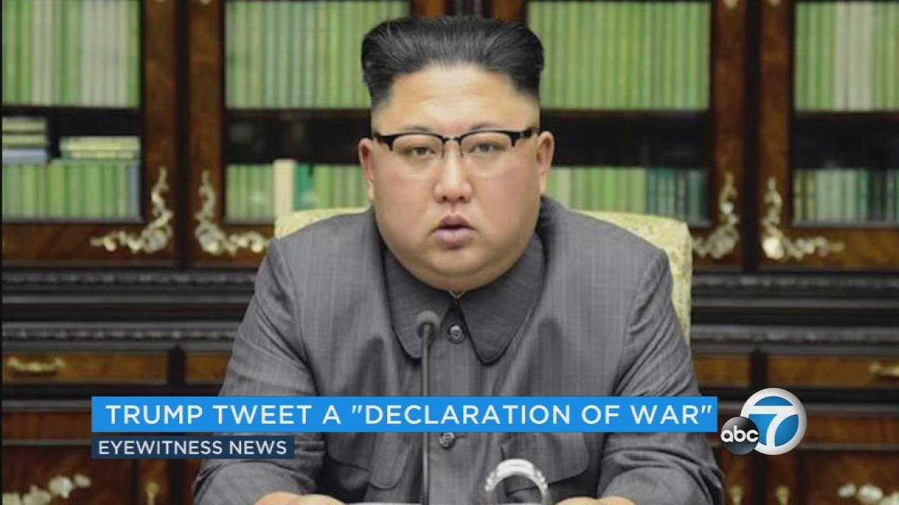 North Koreas top diplomat says President Donald Trumps tweet that leader Kim Jong Un wont be around much longer was a declaration of war against his country by the United States.