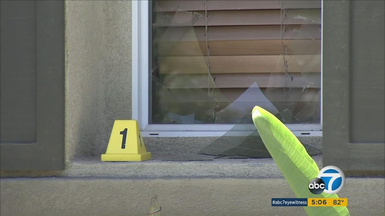 A crime scene is shown at a Rancho Cucamonga home, where a woman was shot during a home-invasion robbery over the weekend.