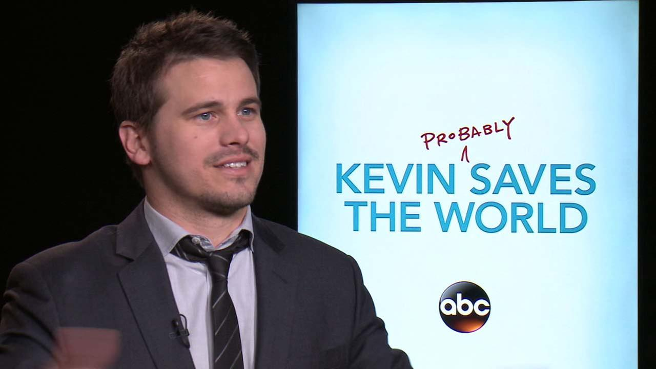 Jason Ritter is seen during a media interview about the ABC show, Kevin (Probably) Saves the World.
