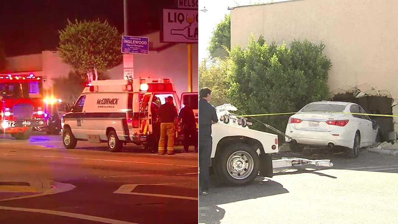 A motorist at a red light in Inglewood was shot, then he lost control of his car and crashed into a building on Wednesday, Sept. 27, 2017.