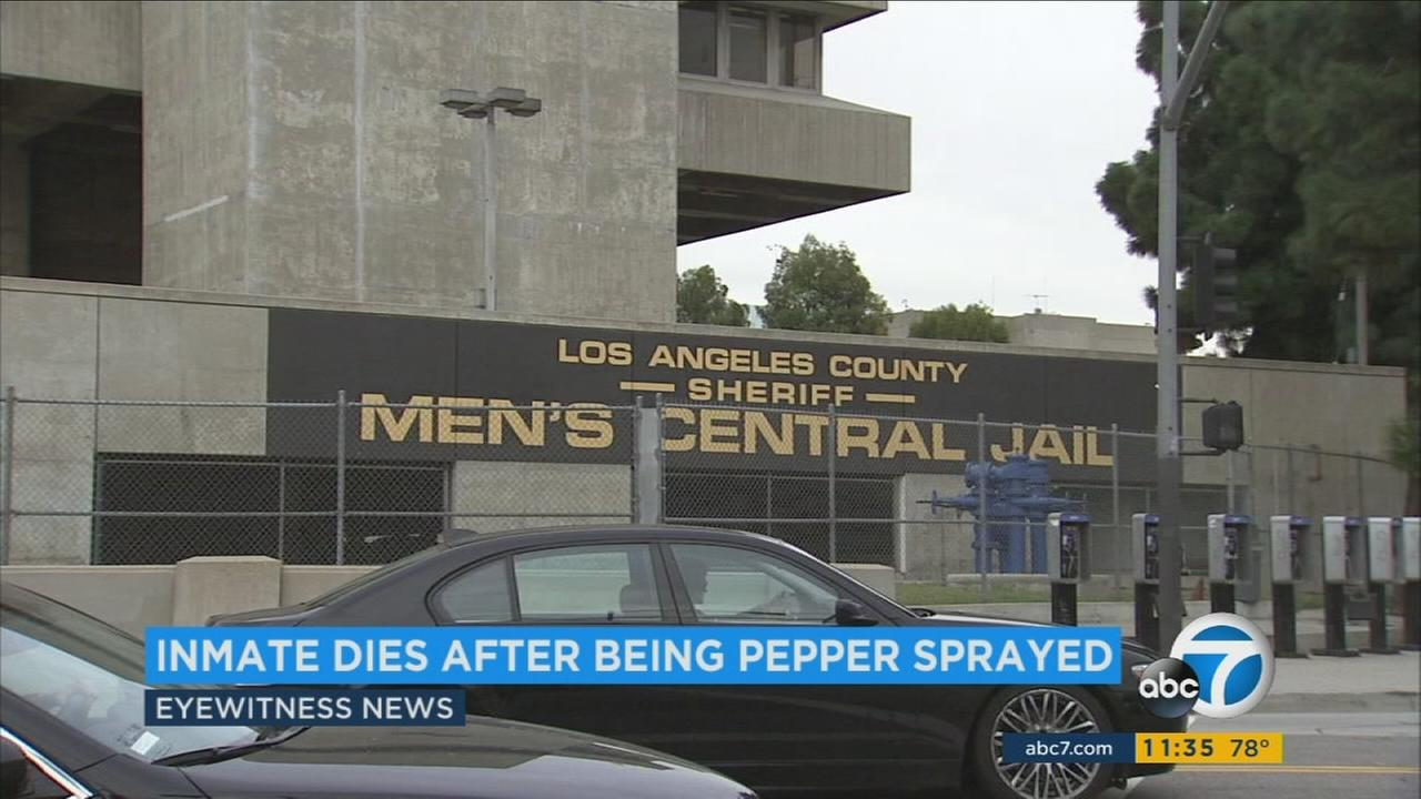 An inmate has died after being pepper-sprayed at the mens central jail in downtown Los Angeles.