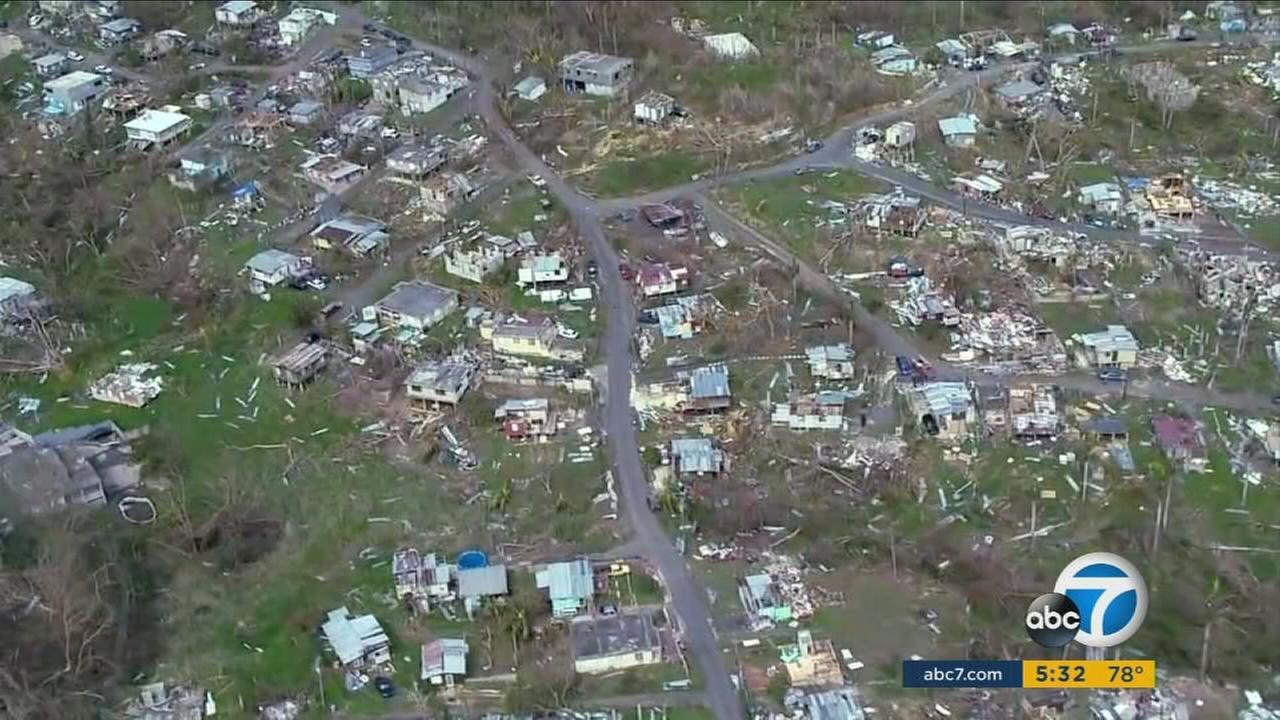 An image of hurricane-ravaged Puerto Rico is shown.