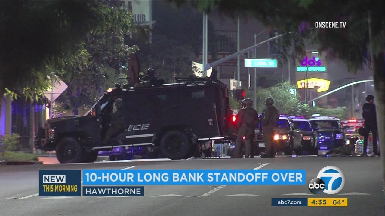 Law enforcement at the scene of a 10-hour standoff in Hawthorne on Wednesday, Sept. 27, 2017.