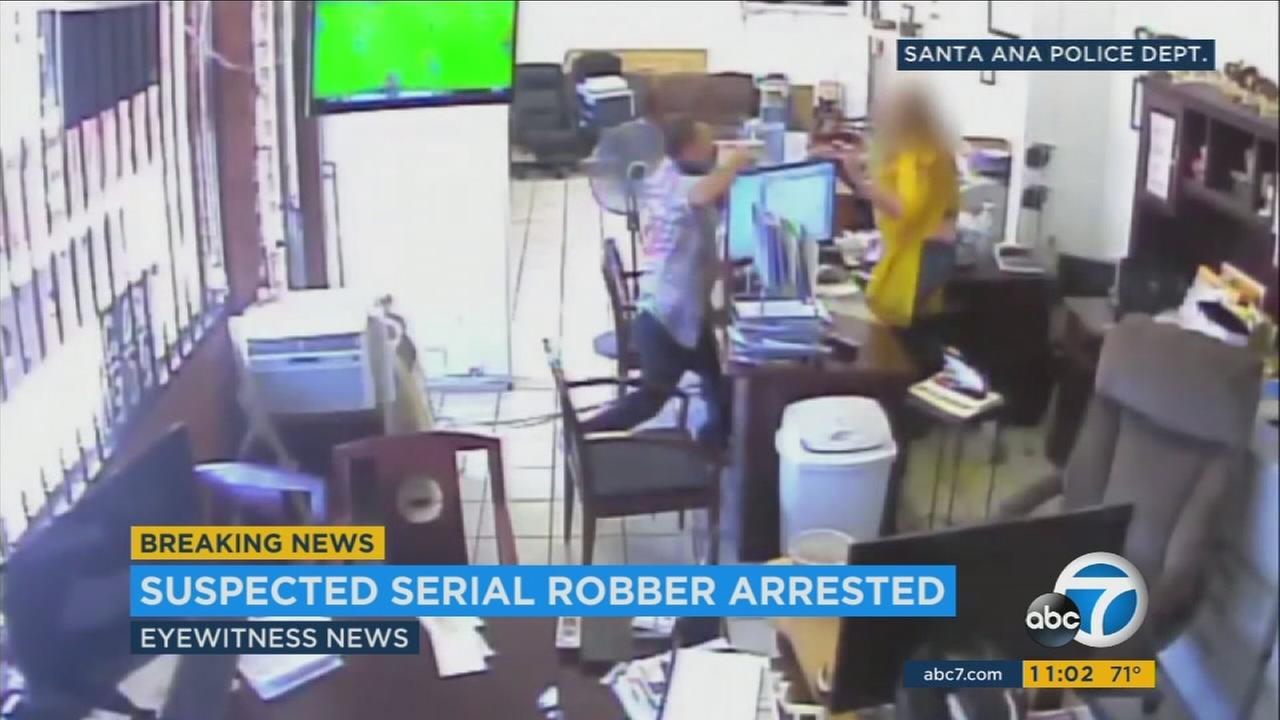 Surveillance video shows a violent armed robbery in Orange County.