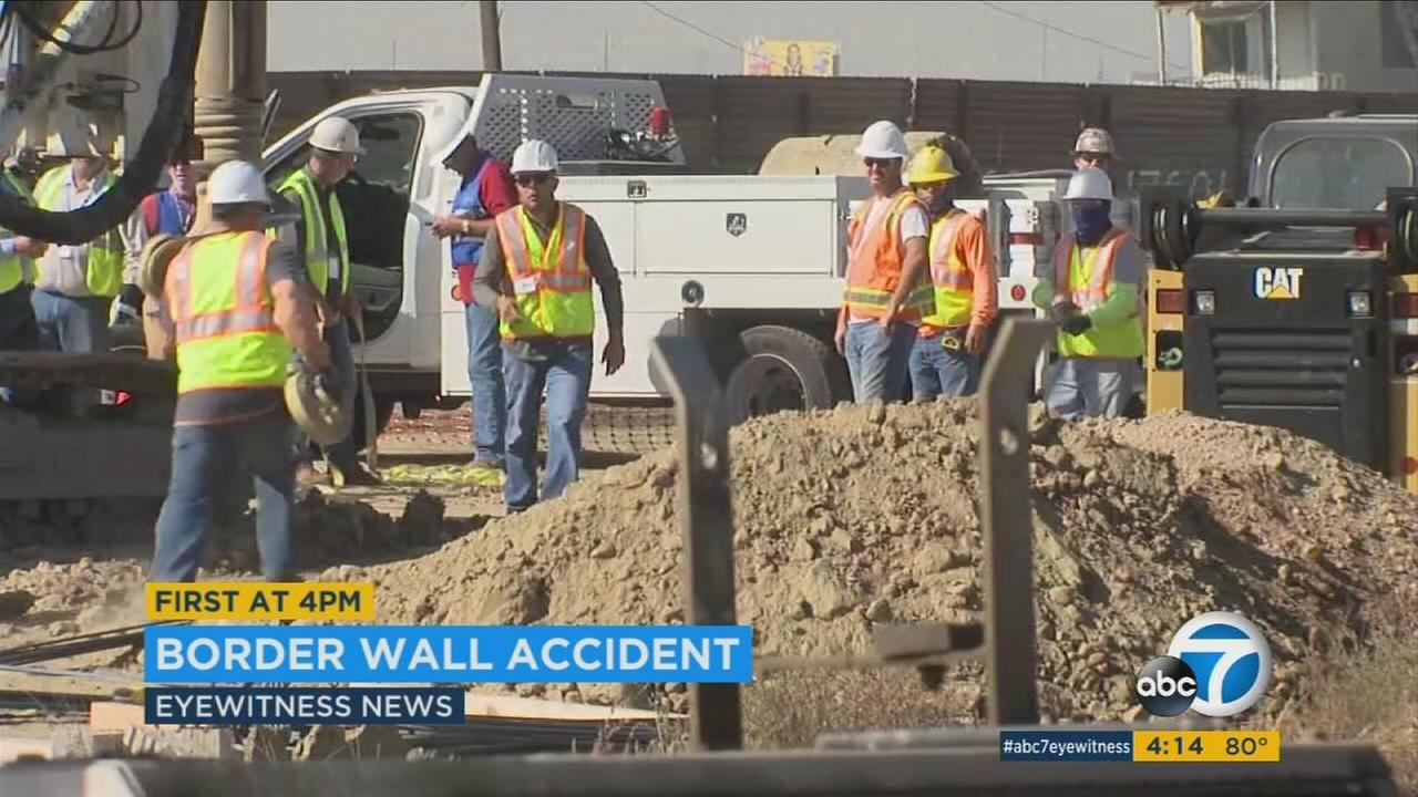 A worker plummeted into a forty-foot hole Thursday morning at a construction site in South San Diego where prototypes of President Trumps proposed border wall are being built.