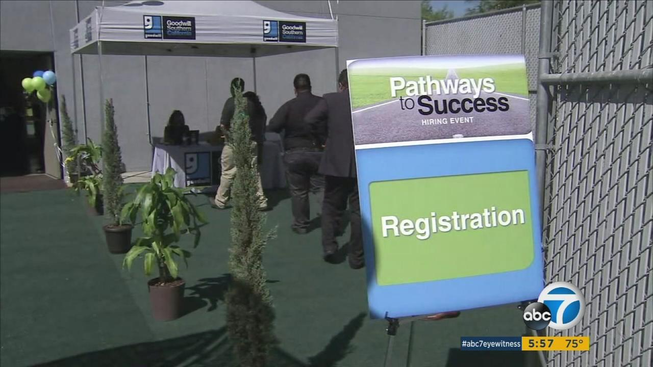 People lined up for a job fair at the Goodwill Southern California office in an effort to get work.
