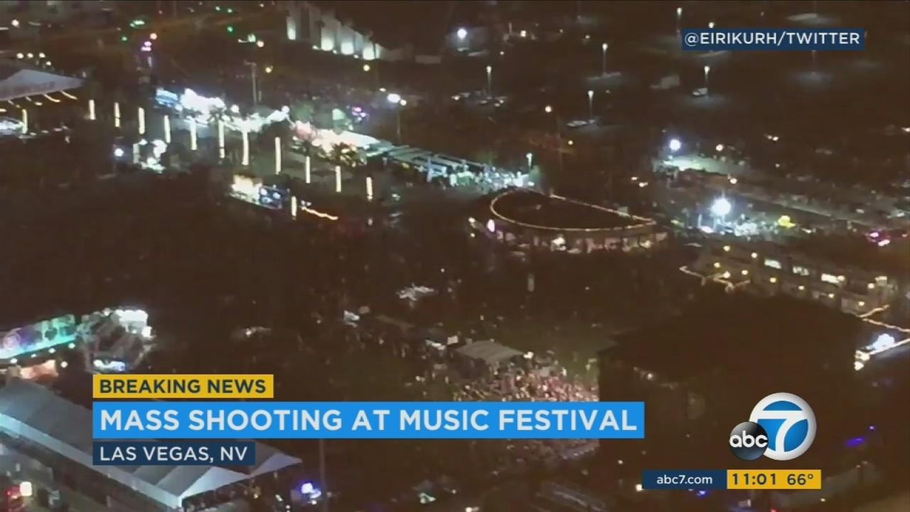 Crowds were running on the Las Vegas Strip after a report of hundreds of shots fired at a Mandalay Bay concert.