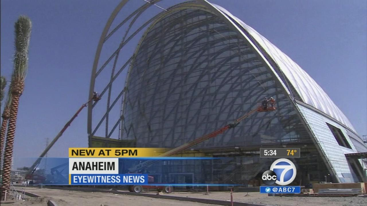 The Anaheim Regional Transportation Intermodal Center, a transportation hub under construction, is shown on Thursday, Aug. 7, 2014.