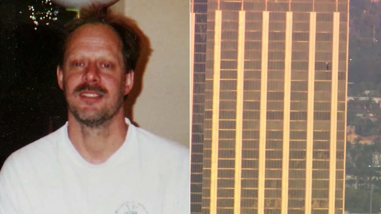 (Left) Stephen Paddock is seen in an undated file photo. (Right) The window of the 32nd-floor room is seen shattered at the Mandalay Bay.