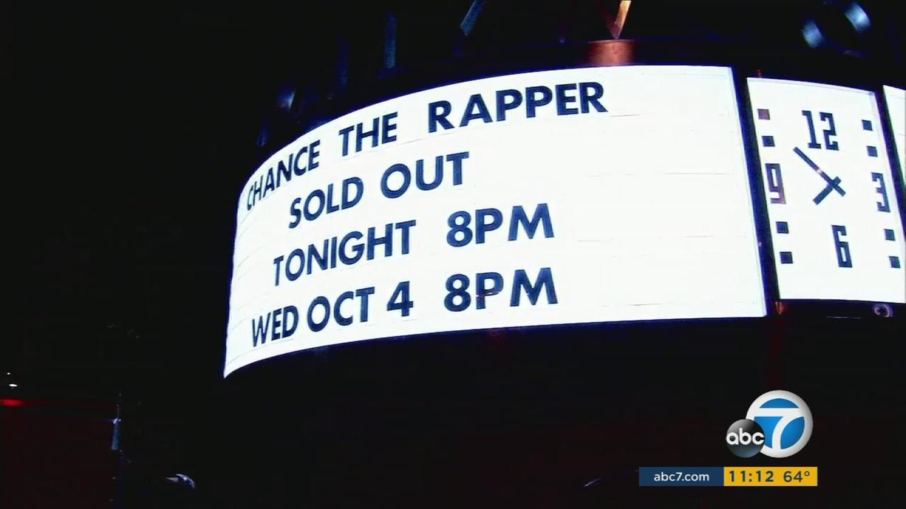 A sign at the Hollywood Bowl showed Chance the Rapper playing at the venue to a sold-out crowd on Tuesday, Oct. 3, 2017.