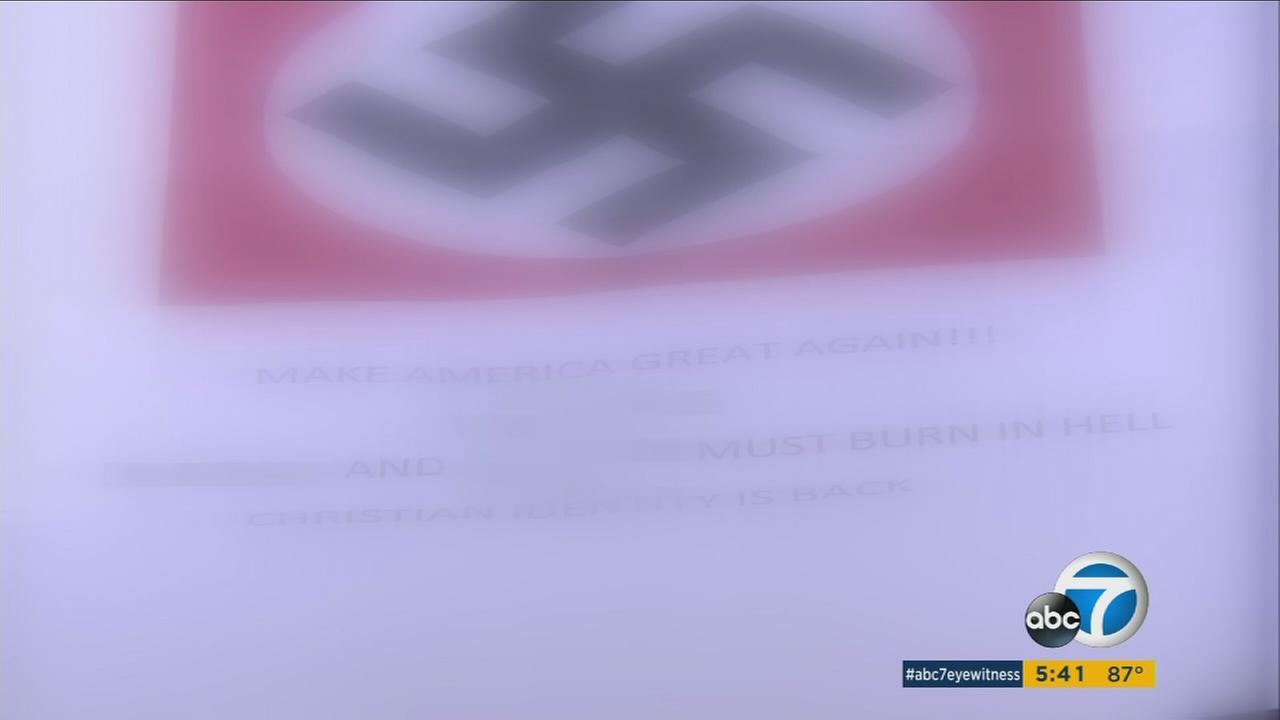 The letter had a large swastika on it and read in part, Make America great again... Christian identity is back.
