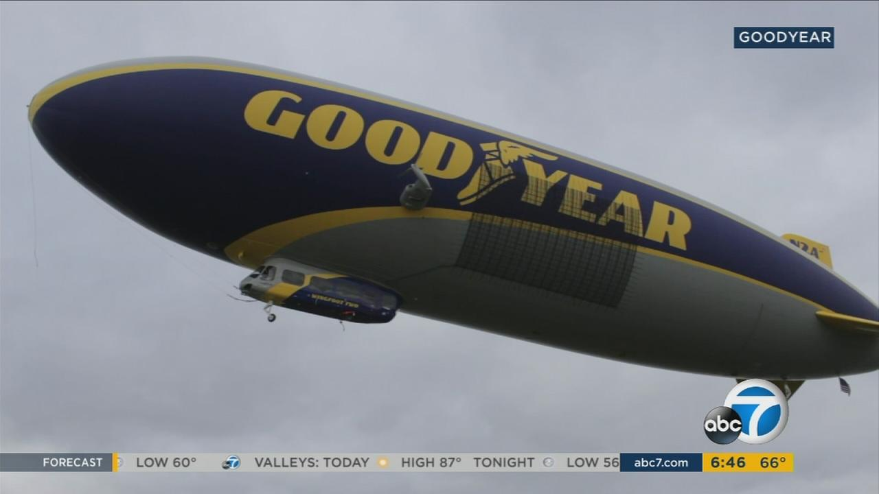 A Goodyear Blimp is shown in a photo.