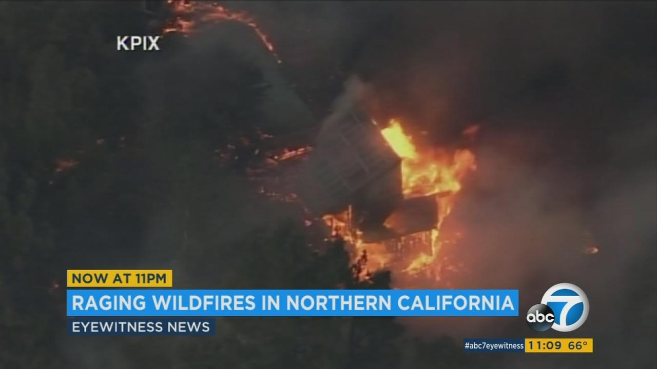 A home engulfed in flames as several wildfires continue to burn in Northern California on Tuesday, Oct. 10, 2017.