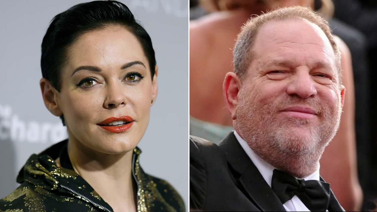 (Left) Rose McGowan is see in this April 15, 2015 file photo. (Right) Harvey Weinstein is seen in an undated file photo. (AP photo)