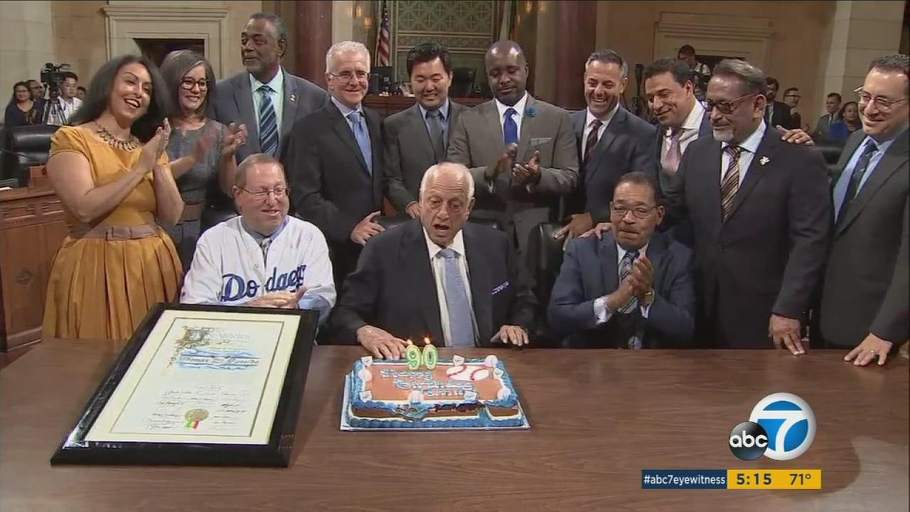The Los Angeles City Council on Friday honored Dodgers legend Tommy Lasorda with a celebration of his 90th birthday, which was on Sept. 22.
