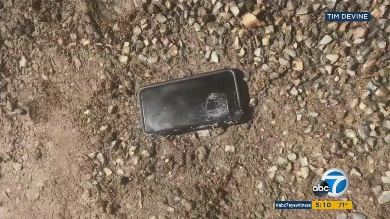 A man in Menifee claims his smart phone caught fire while he was using it.