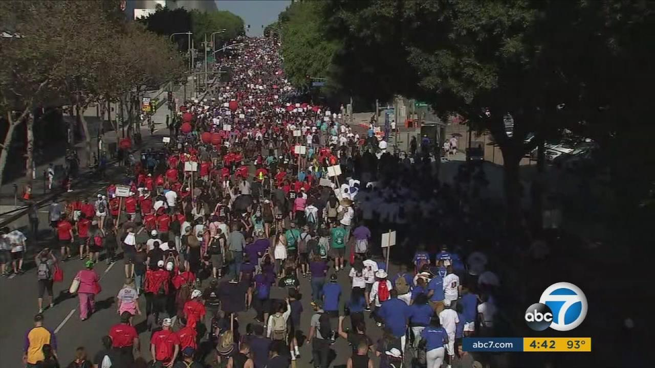 Thousands took to the streets in downtown Los Angeles on Sunday to raise money for people affected by AIDS and HIV.
