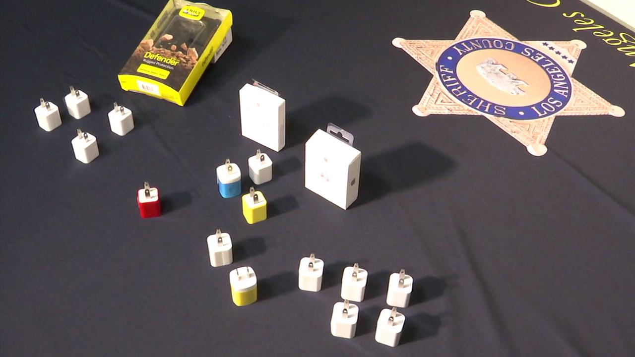 Counterfeit cellphone chargers are shown during a press conference held by the Los Angeles City Attorneys Office on Tuesday, Oct. 17, 2017.