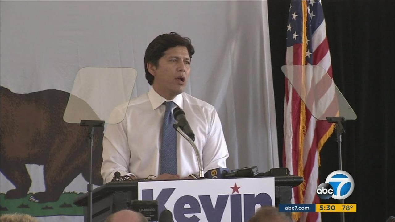 California Sen. Kevin de Leon is shown officially announcing his campaign for U.S. senator.