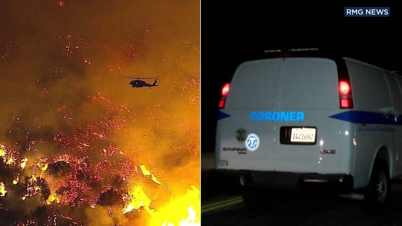 (Right) A coroners van is seen on Mount Wilson, where a fire broke out on Tuesday, Oct. 17, 2017.