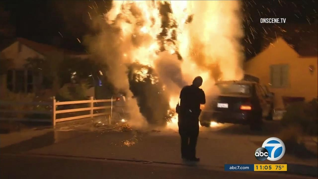 A fire rages in North Hollywood, where at least four blazes occurred on Thursday, Oct. 19, 2017.