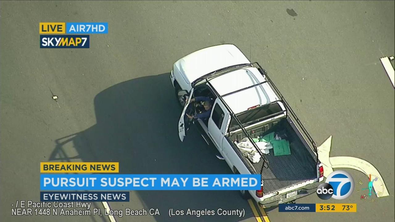 A stolen vehicle suspect led Los Angeles County sheriffs deputies on a chase that was called off, then picked back up by authorities in Orange County.
