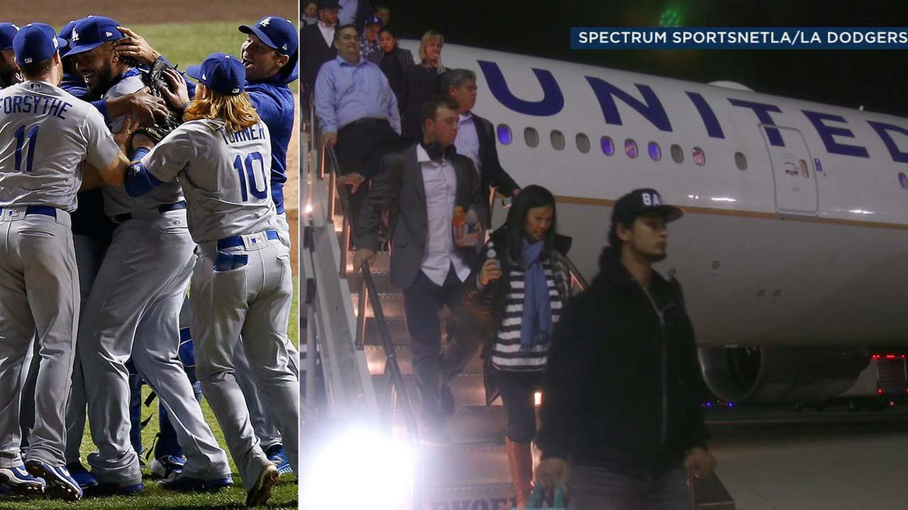 (Left) The Dodgers celebrate after beating the Cubs Thursday. (Right) The Dodgers arrive at LAX on Friday.