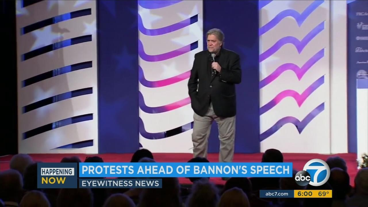 Former White House chief strategist Steve Bannon is shown in a photo from a previous speech.