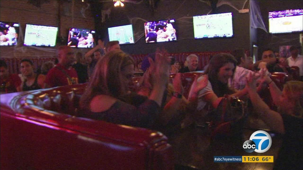 Dodgers fans watched the Astros beat the Yankees Saturday night, setting up a Los Angeles-Houston World Series.
