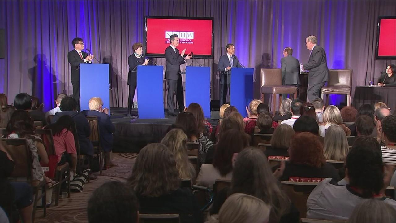 With Californias gubernatorial election more than a year away, the four major Democratic candidates took the stage in Anaheim to push for an endorsement from health care workers.