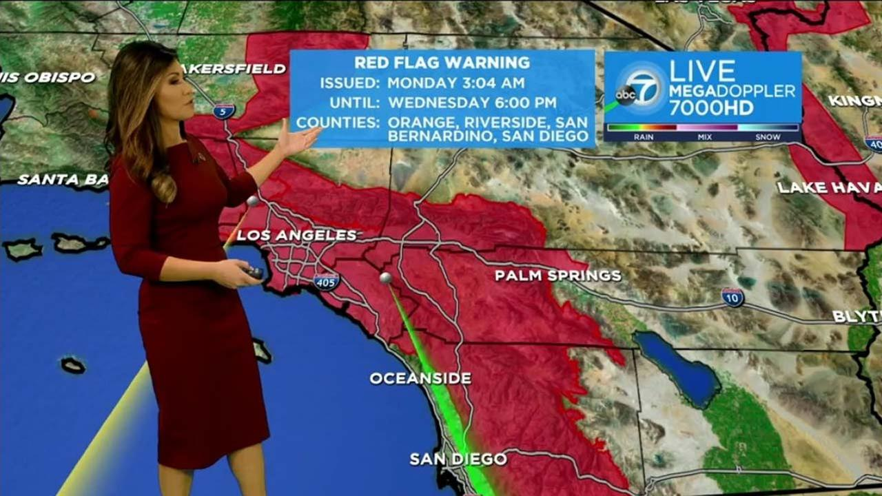 A map indicates the areas impacted by a red flag warning in Southern California.