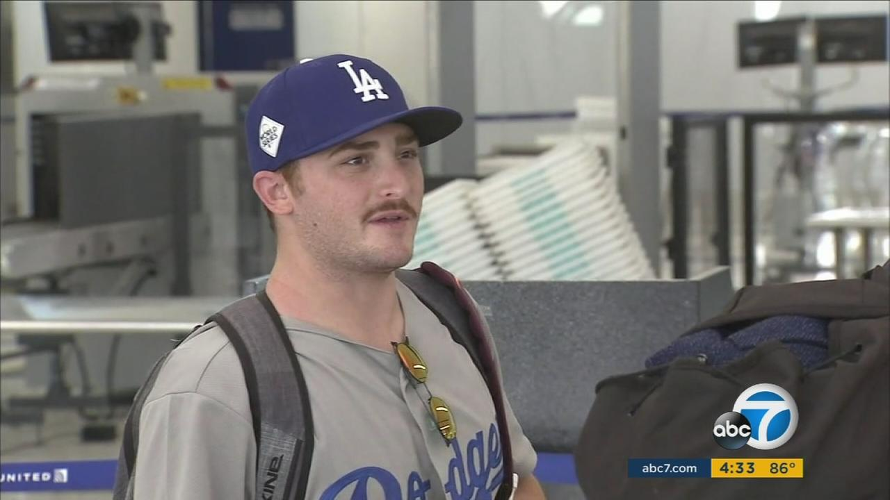 There was lots of Dodger blue in the United terminal at LAX.