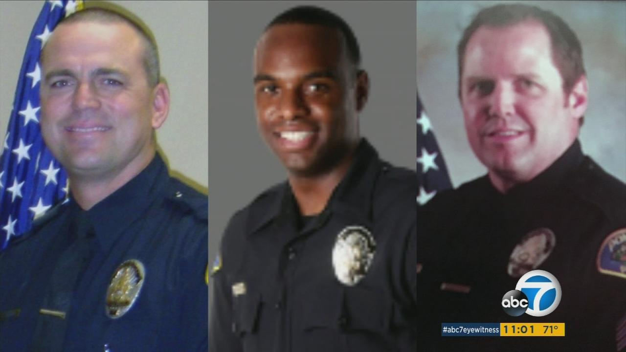 Three Pomona police officers are shown in photos.