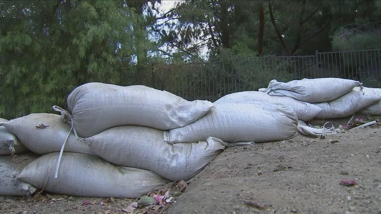 Sandbags are shown as preparations were underway for areas affected by the La Tuna Canyon Fire as rains were expected over the weekend.