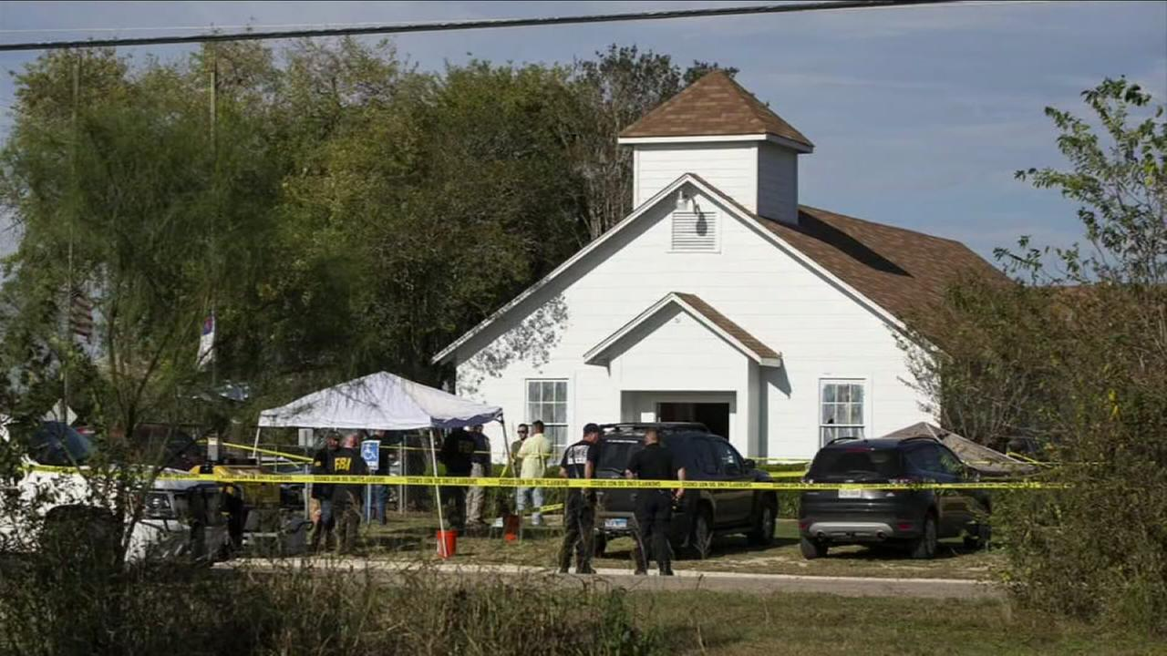 The crime scene in front of First Baptist Church in Sutherland Springs, Texas, is shown in a photo on Sunday, Nov. 5, 2017.