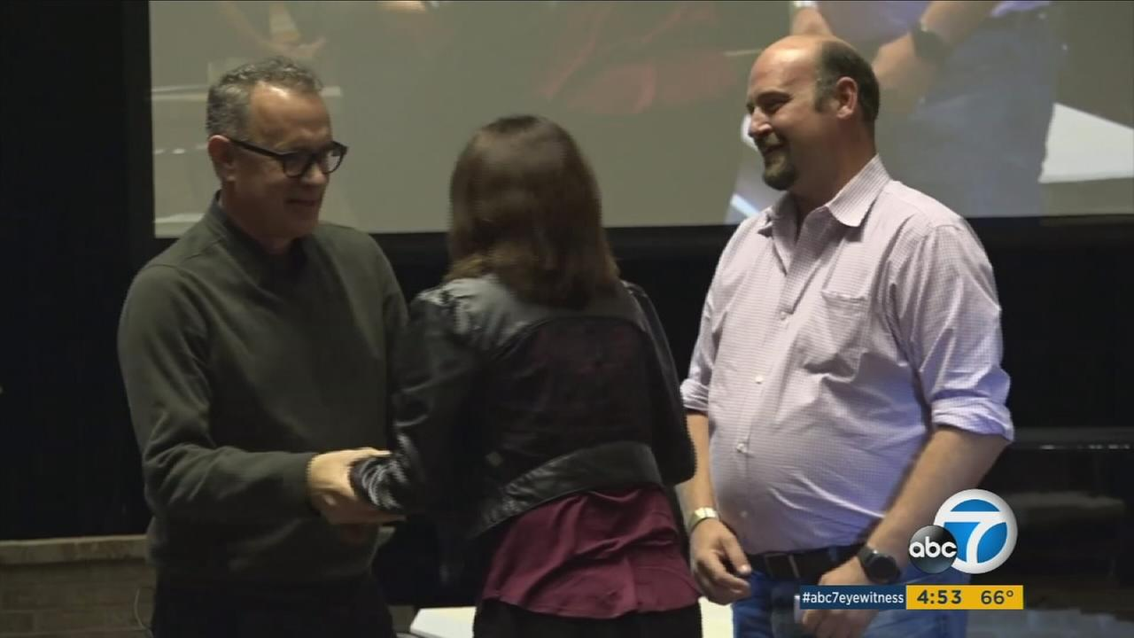 Oscar-winning actor and author Tom Hanks used a Texas Book Festival appearance to help a couple get engaged.