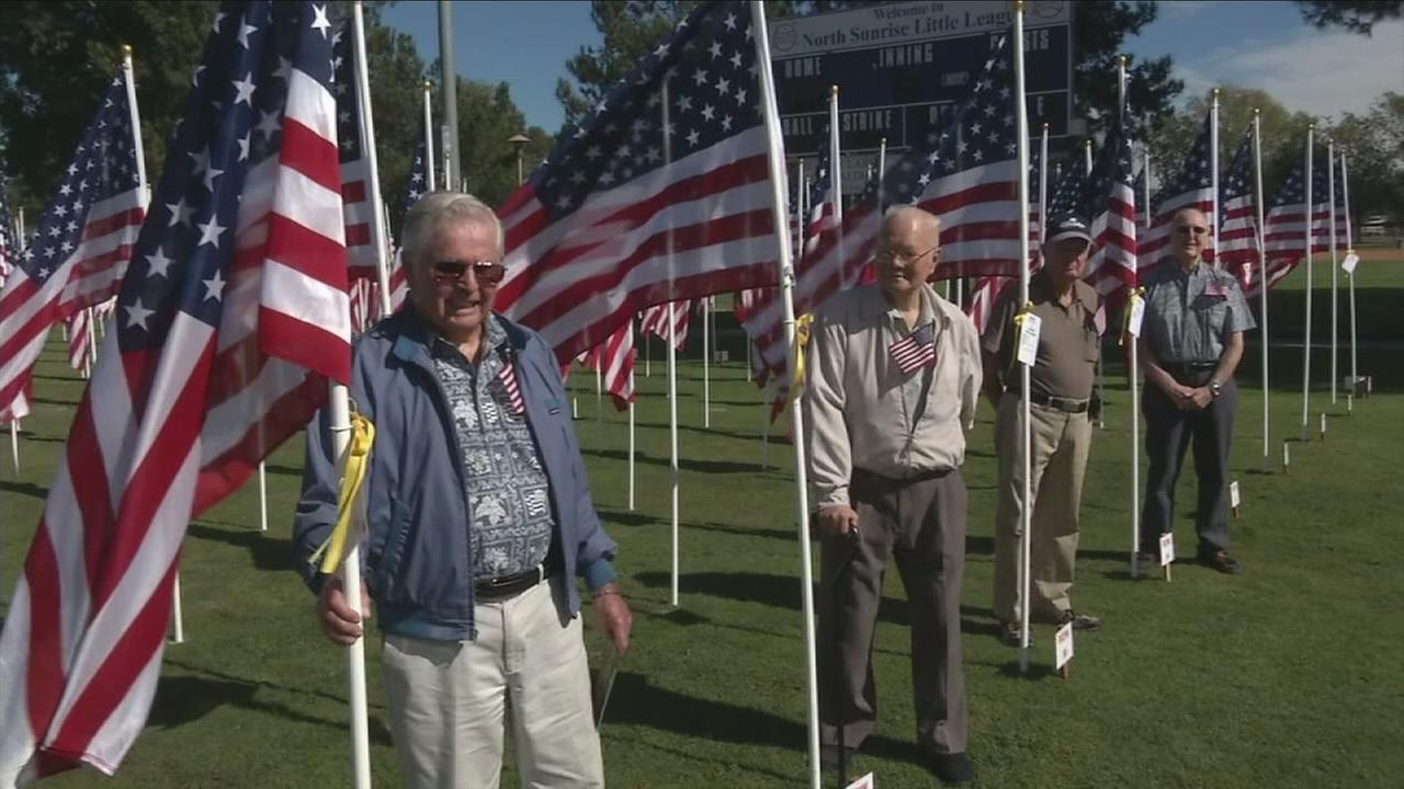 The Field of Valor in the city of Orange has returned to Hardy Park for the third year, honoring veterans and those currently serving in the military.