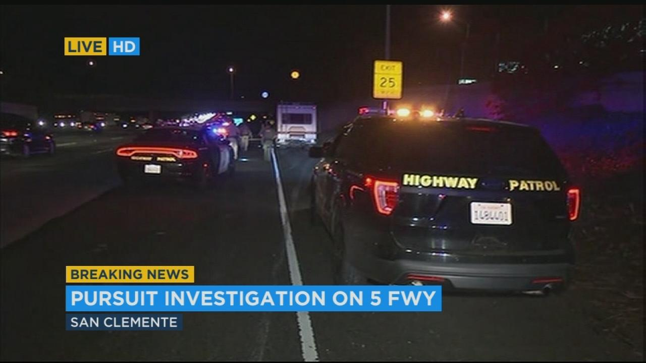 A man and woman in a motorhome were arrested Thursday, Nov. 9, 2017, after a chase and standoff on the 5 Freeway in San Clemente, the California Highway Patrol said.