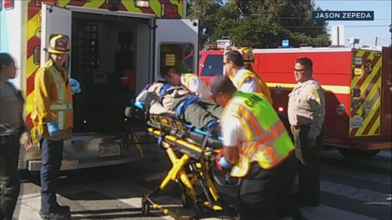 An L.A. County sheriffs sergeant was injured in a car accident in an unincorporated area of East Los Angeles.