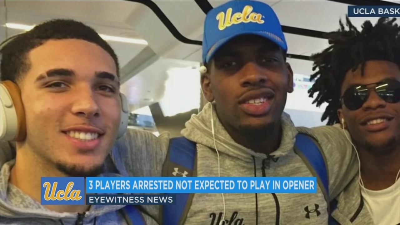LiAngelo Ball and other UCLA Bruins players are shown in an undated photo in China.