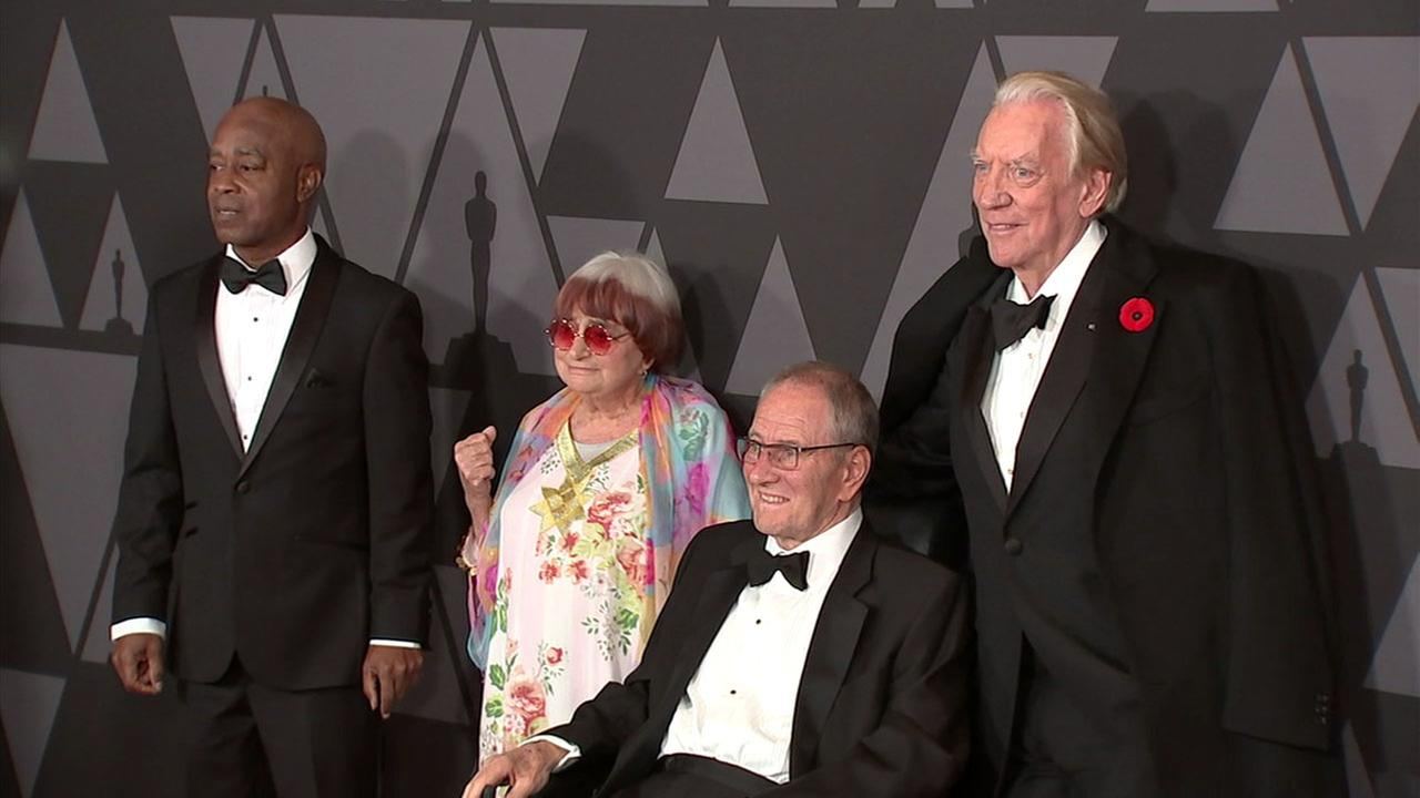 The four movie-industry legends take a photo after they received honorary Oscars at the ninth annual Governors Awards in Hollywood on Saturday, Nov. 11, 2017.